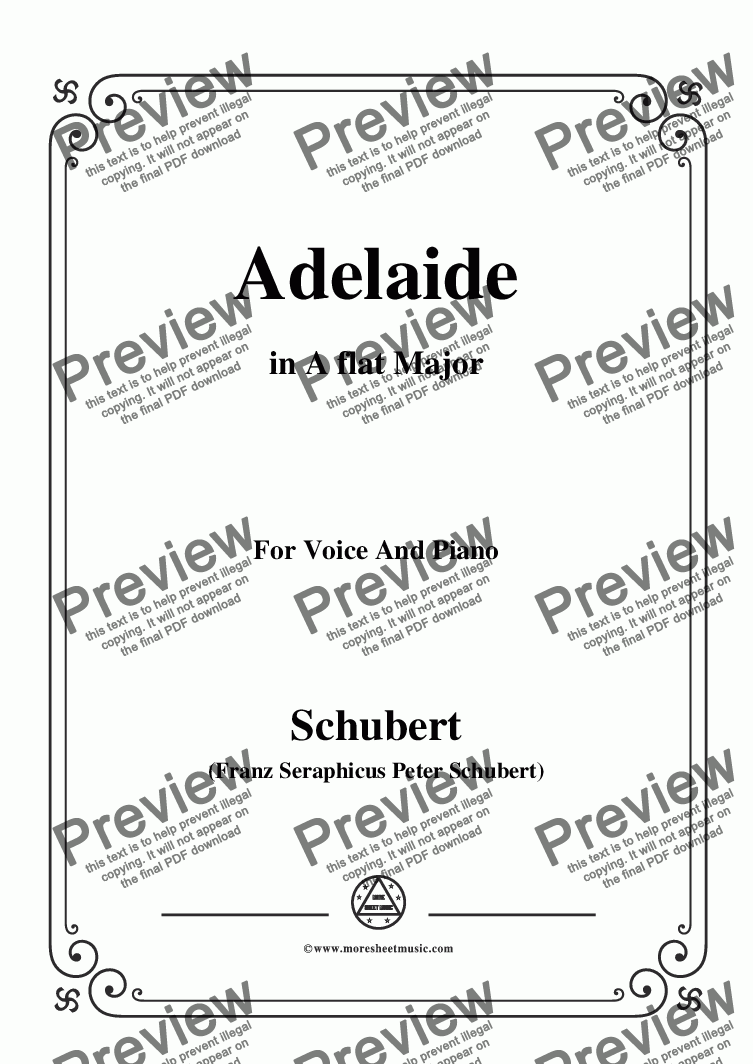 page one of Schubert-Adelaide,in A flat Major,for Voice and Piano