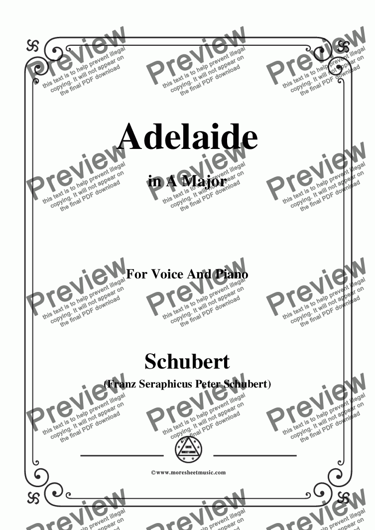 page one of Schubert-Adelaide,in A Major,for Voice and Piano