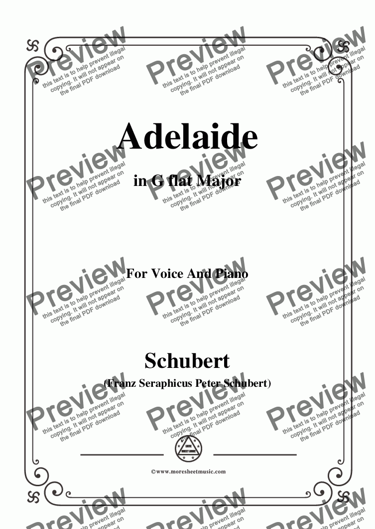 page one of Schubert-Adelaide,in G flat Major,for Voice and Piano