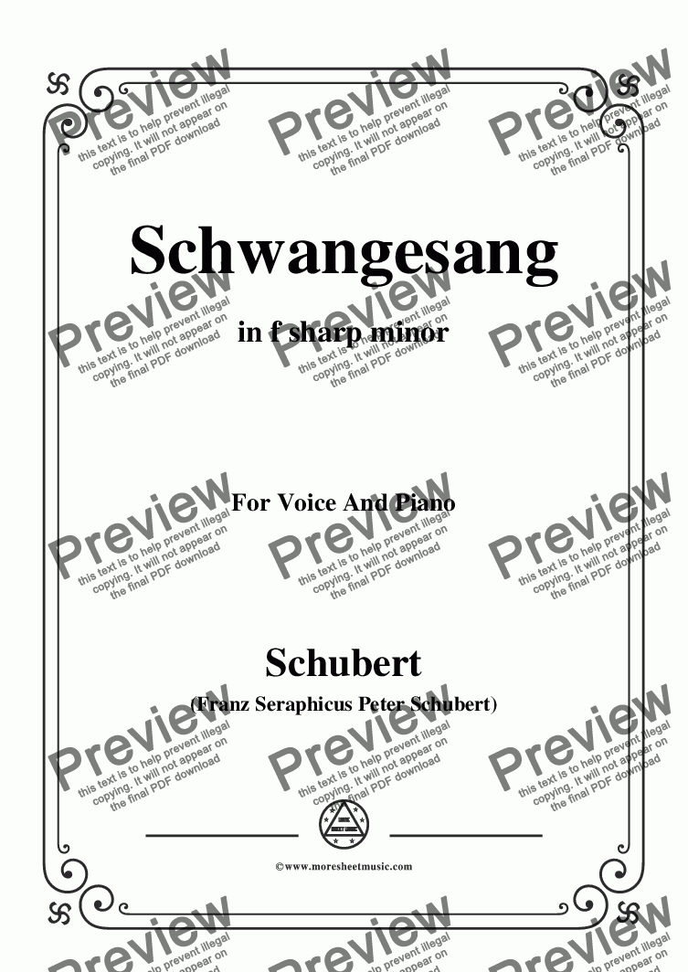 page one of Schubert-Schwangesang,in f sharp minor,for Voice and Piano