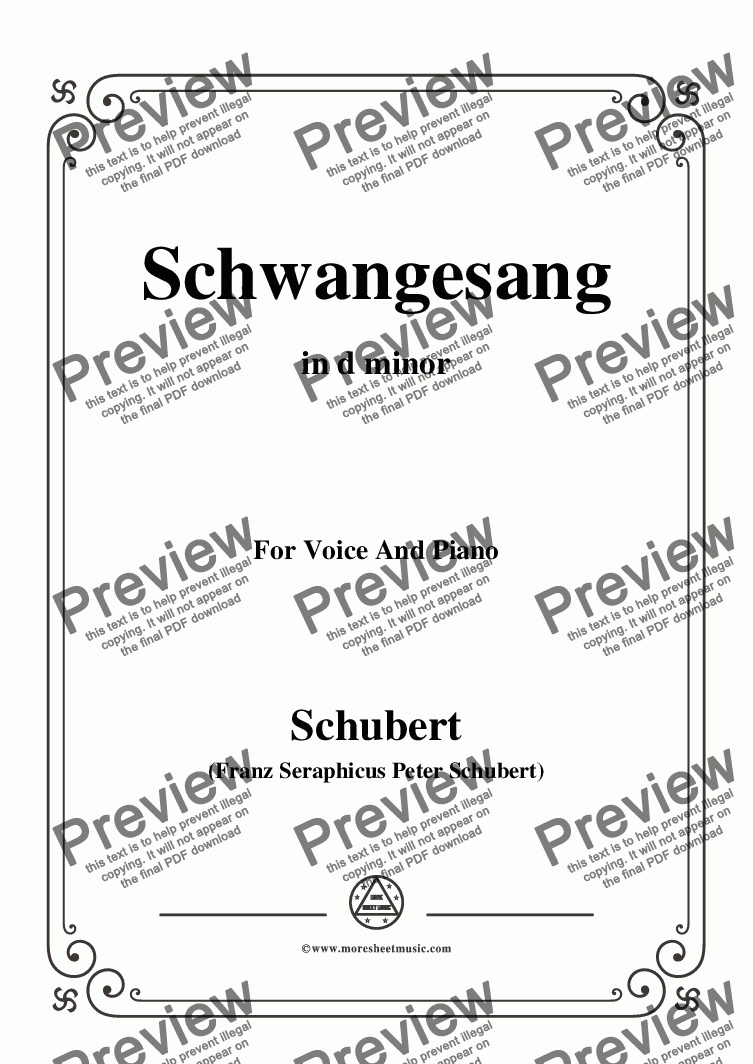 page one of Schubert-Schwangesang,in d minor,for Voice and Piano