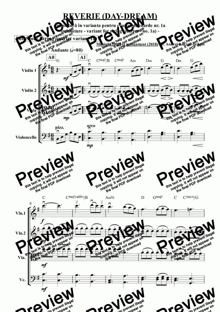 page one of Reverie (Day-dream) (miniature adapted for string quartet) (one pdf with full score plus all parts)