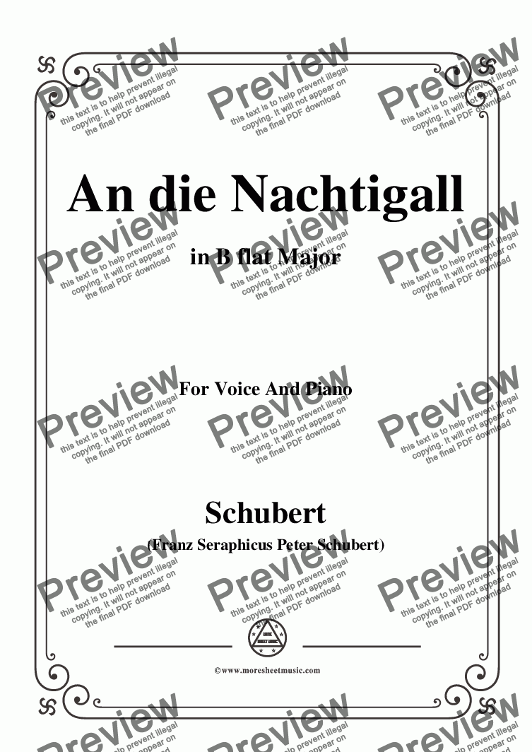 page one of Schubert-An die Nachtigall,in B flat Major,Op.98 No.1,for Voice and Piano