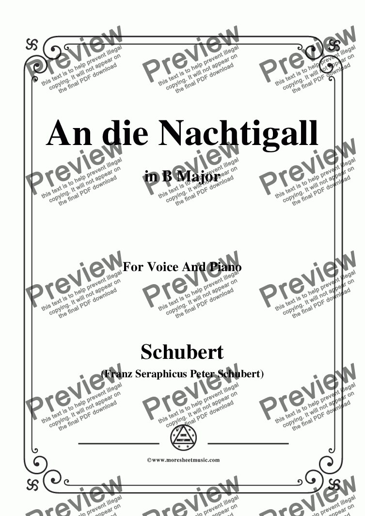 page one of Schubert-An die Nachtigall,in B Major,Op.98 No.1,for Voice and Piano