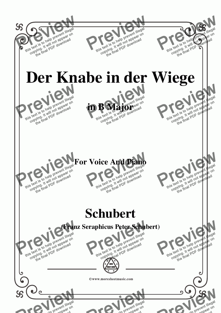 page one of Schubert-Der Knabe in der Wiege,in B Major,D.579,for Voice and Piano