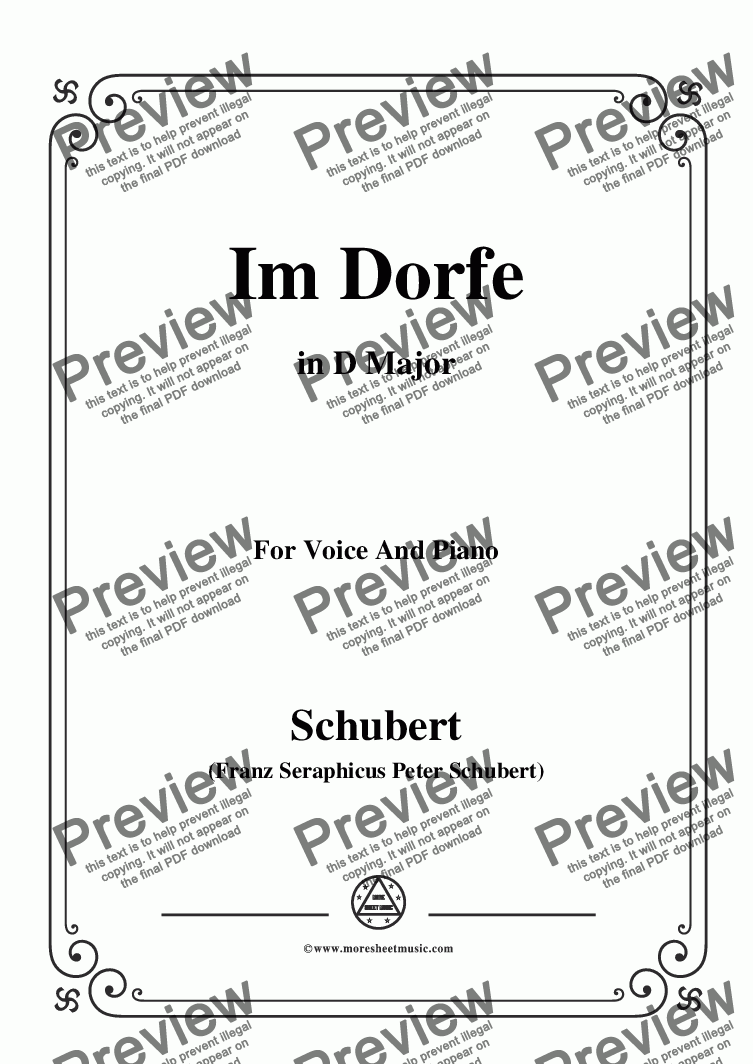 page one of Schubert-Im Dorfe,in D Major,Op.89 No.17,for Voice and Piano