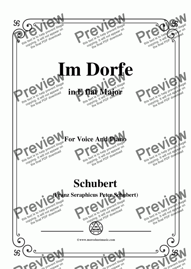 page one of Schubert-Im Dorfe,in E flat Major,Op.89 No.17,for Voice and Piano
