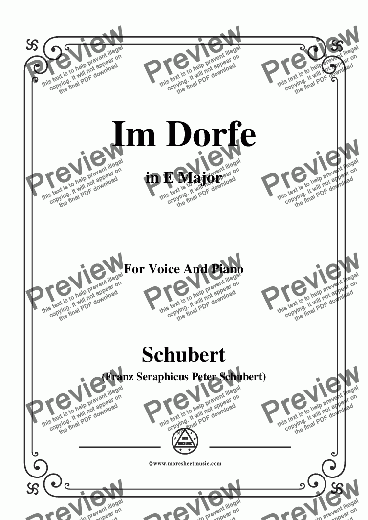 page one of Schubert-Im Dorfe,in E Major,Op.89 No.17,for Voice and Piano