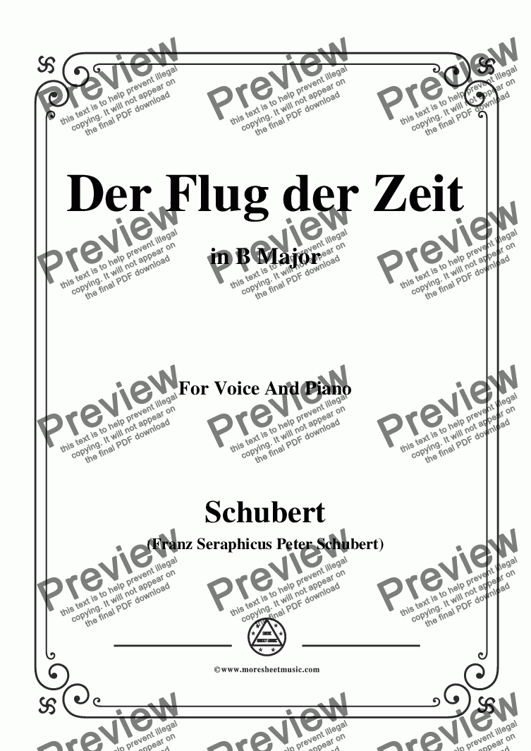 page one of Schubert-Der Flug der Zeit,in B Major,Op.7 No.2,for Voice and Piano