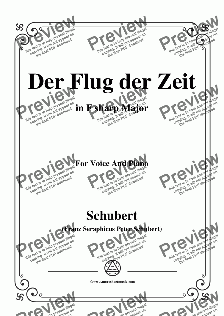 page one of Schubert-Der Flug der Zeit,in F sharp Major,Op.7 No.2,for Voice and Piano