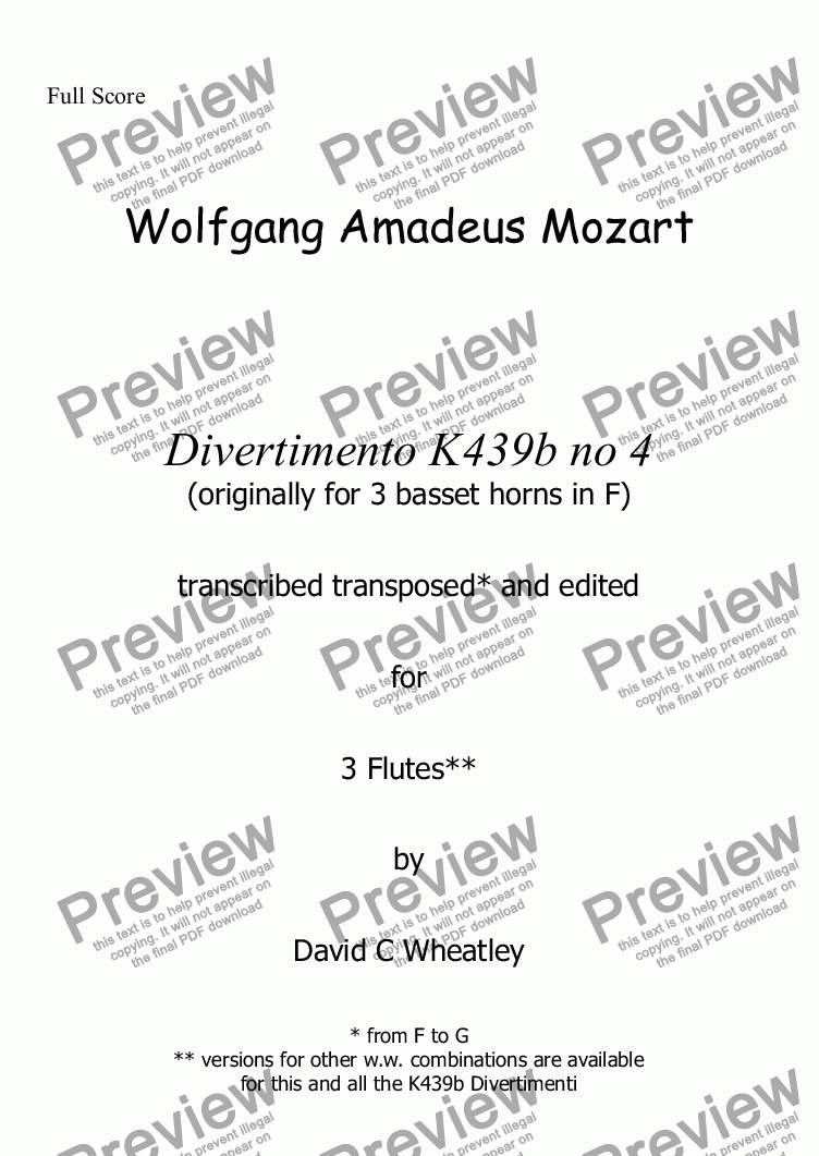 page one of Mozart - Divertimento K439b no 4 for 3 flutes transcribed by David C. Wheatley