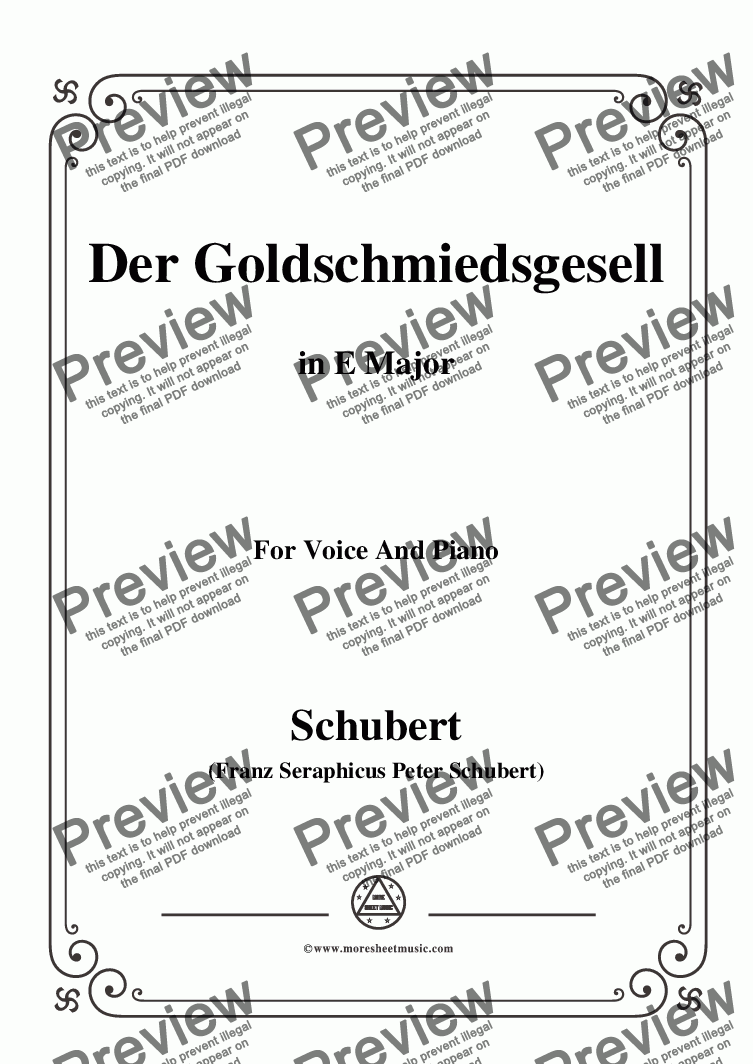 page one of Schubert-Der Goldschmiedsgesellc,in E Major,D.560,for Voice and Piano