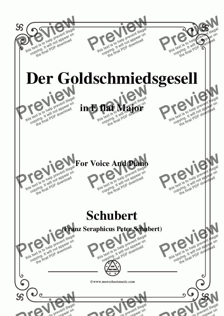 page one of Schubert-Der Goldschmiedsgesellc,in E flat Major,D.560,for Voice and Piano