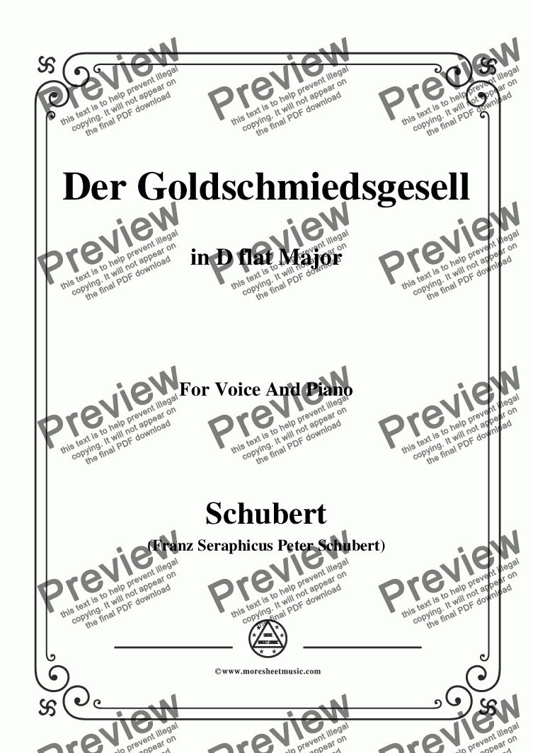 page one of Schubert-Der Goldschmiedsgesellc,in D flat Major,D.560,for Voice and Piano