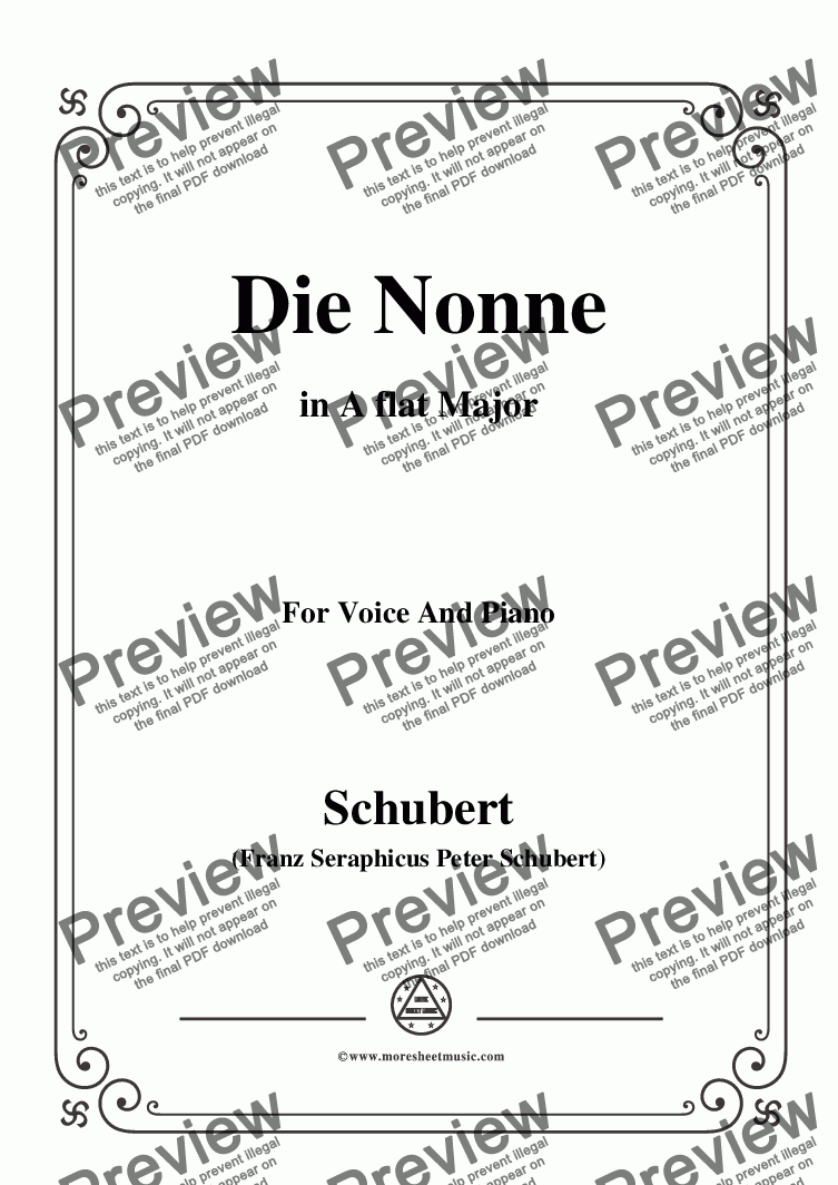 page one of Schubert-Die Nonne,in A flat Major,D.208,for Voice and Piano
