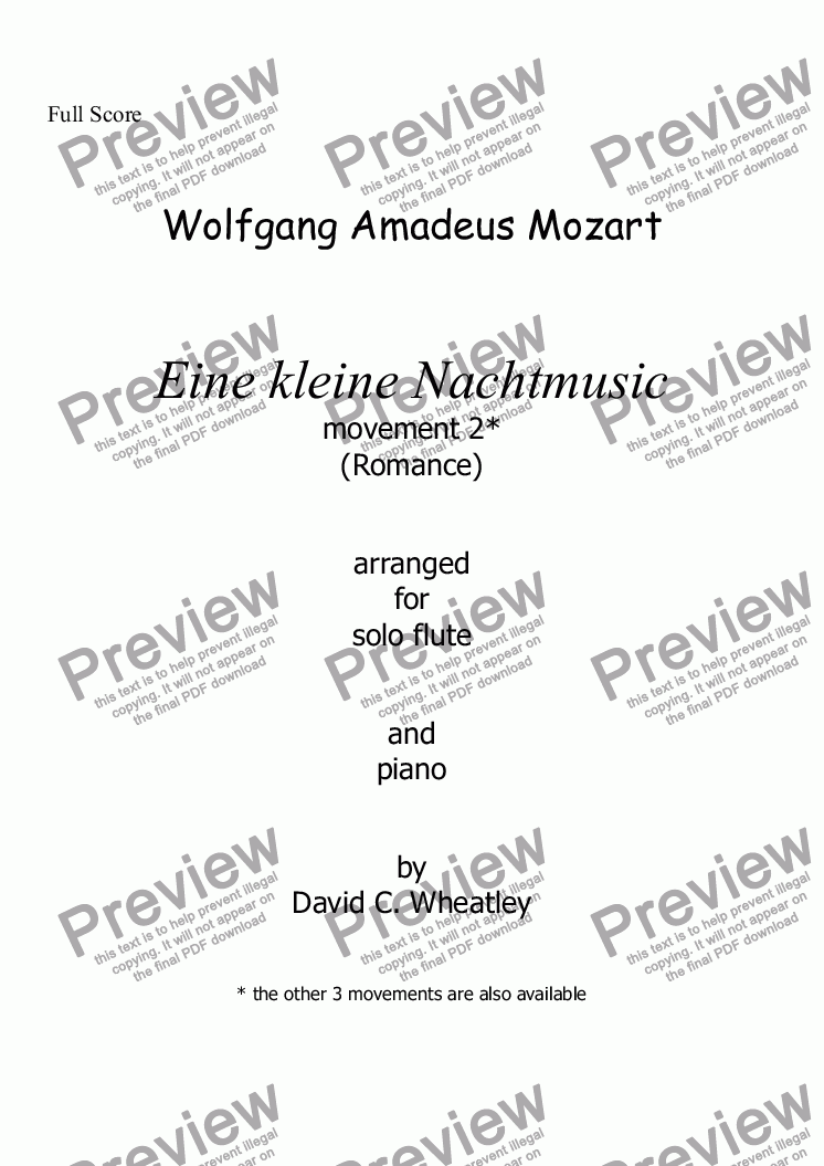 page one of Mozart - Eine kleine Nachtmusic mvt 2 (Romance) for flute and piano