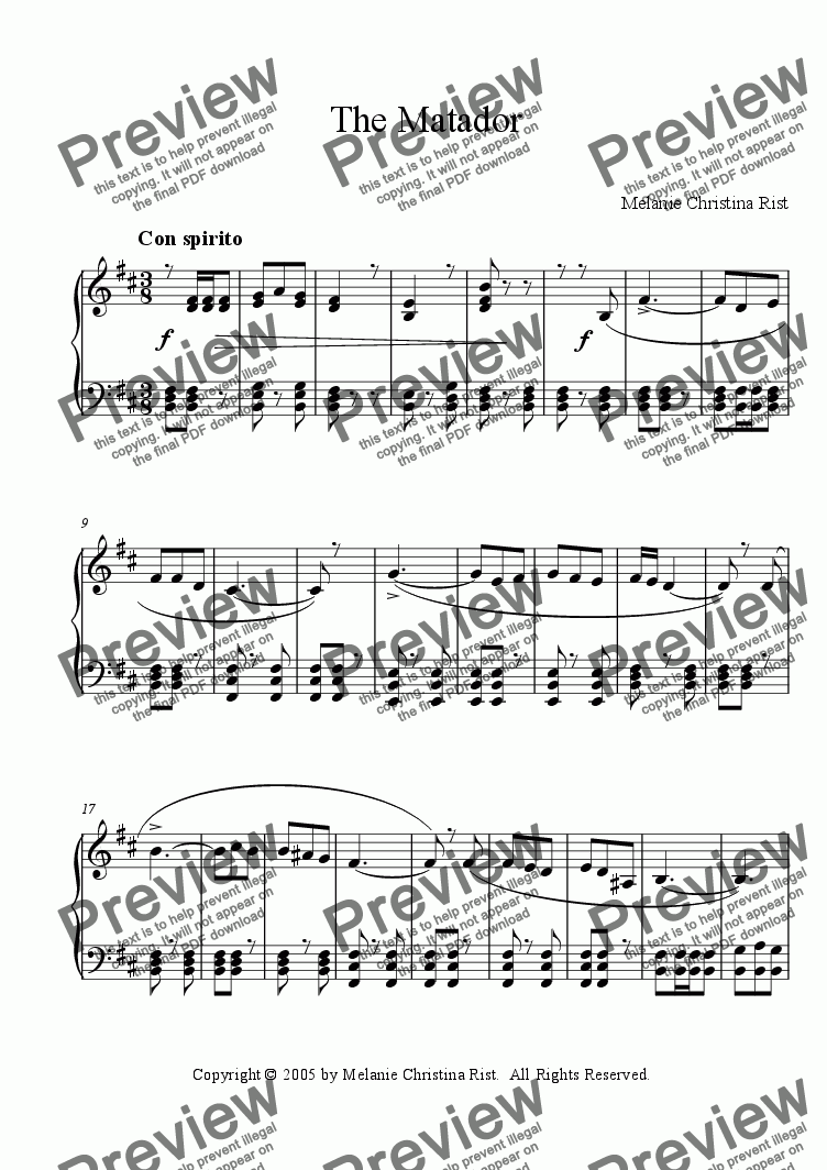 page one of The Matador (piano, by Melanie C. Rist)