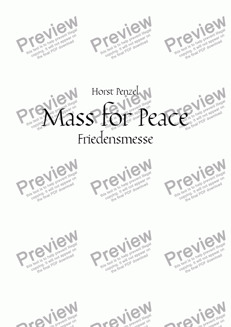 page one of Mass for Peace - Friedensmesse