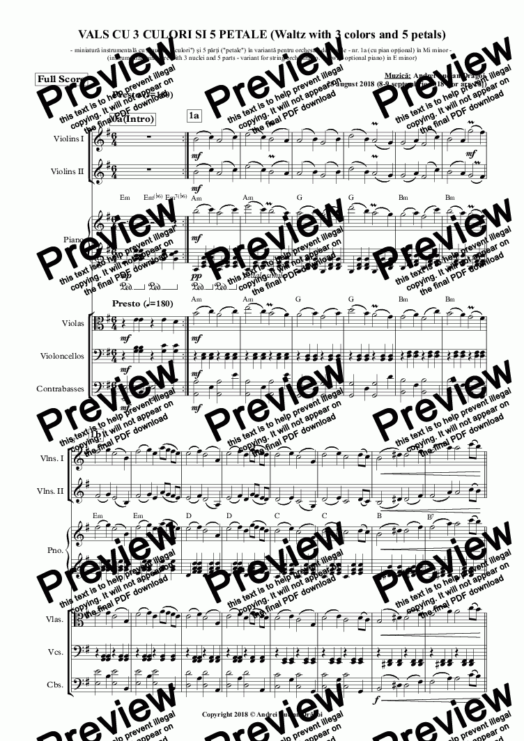 page one of VALS CU 3 CULORI SI 5 PETALE (Waltz with 3 colors and 5 petals) (instrumental miniature with 3 nuclei and 5 parts - variant for string orchestra no. 1a (with optional piano) in E minor)