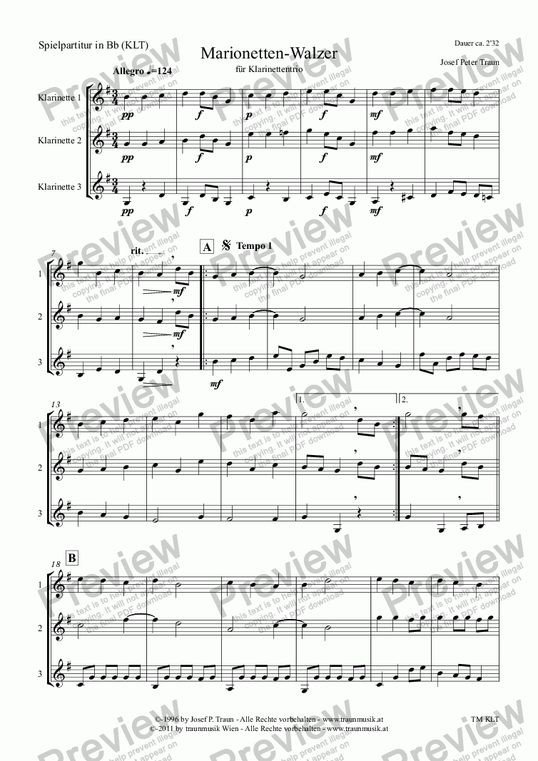 page one of Marionetten-Walzer (G-Dur/KLT/Score in Bb & Parts)