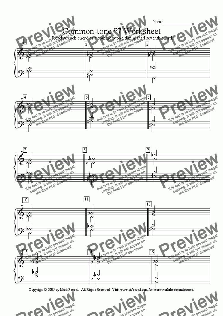 Common Tone Diminished Seventh Chord Worksheet Sheet Music Pdf File
