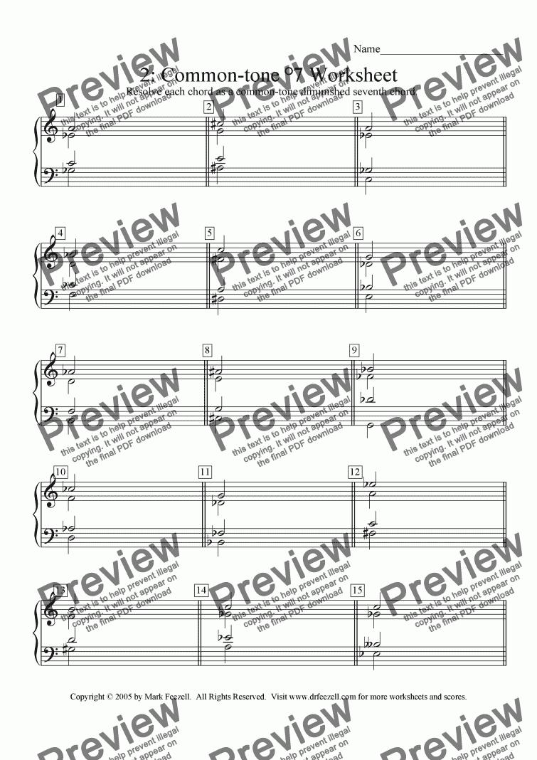 Common-tone diminished seventh chord worksheet 2 - Buy PDF