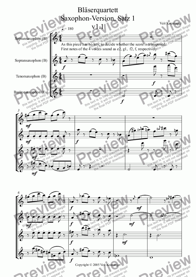 page one of Bläserquartett Saxophon-Version, Satz 1