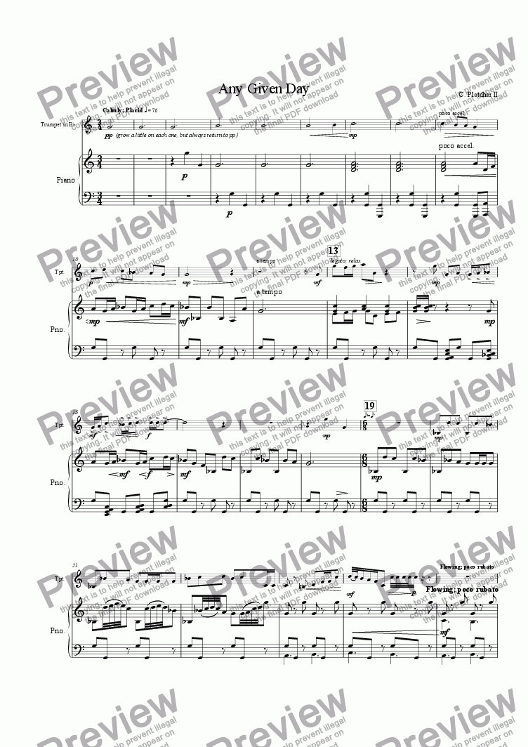 page one of Any Given Day (solo trumpet and piano)