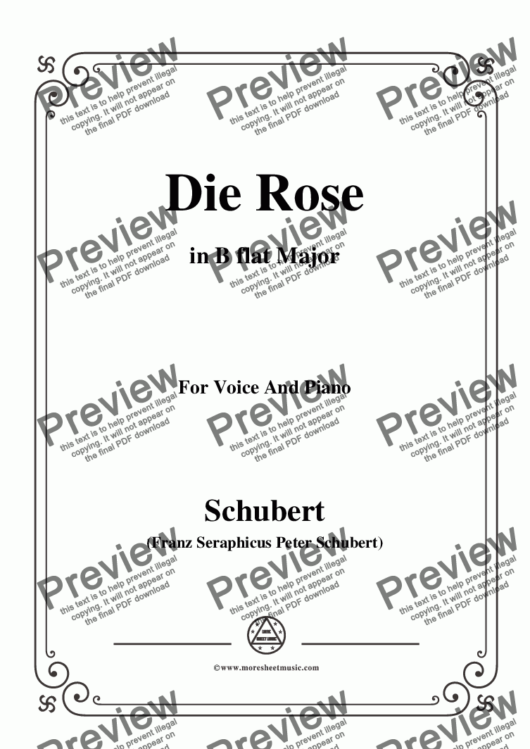 page one of Schubert-Die Rose,in B flat Major,Op.73,for Voice and Piano
