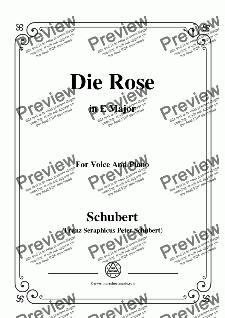 page one of Schubert-Die Rose,in E Major,Op.73,for Voice and Piano