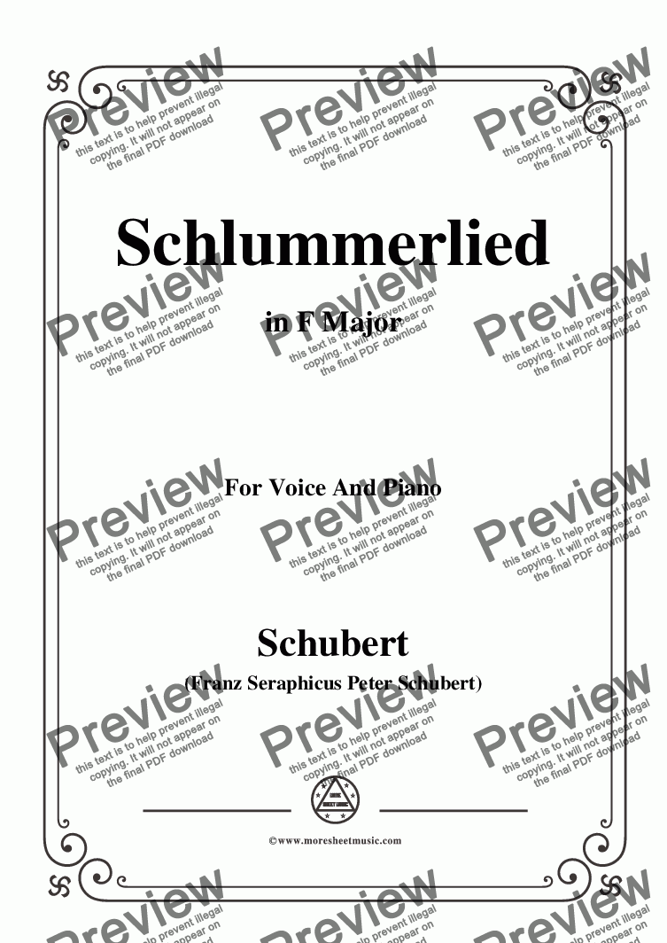page one of Schubert-Schlummerlied,in F Major,Op.24 No.2,for Voice and Piano