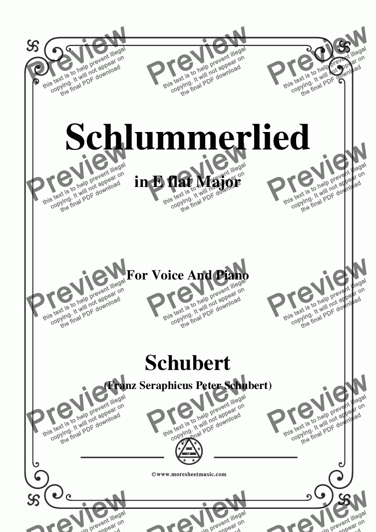 page one of Schubert-Schlummerlied,in E flat Major,Op.24 No.2,for Voice and Piano