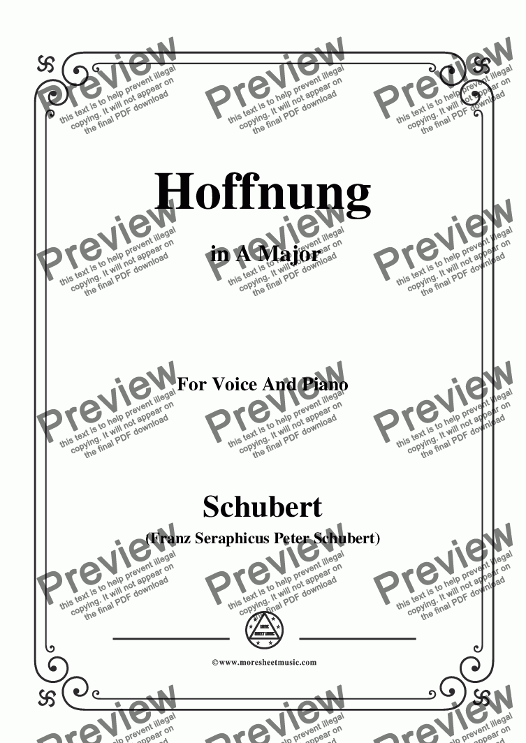page one of Schubert-Hoffnung,in A Major,D.251,for Voice and Piano