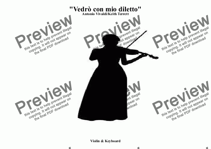 "page one of Vedrò con mio diletto Aria: from the Opera ""Il Giustino"" for Violin & Keyboard"