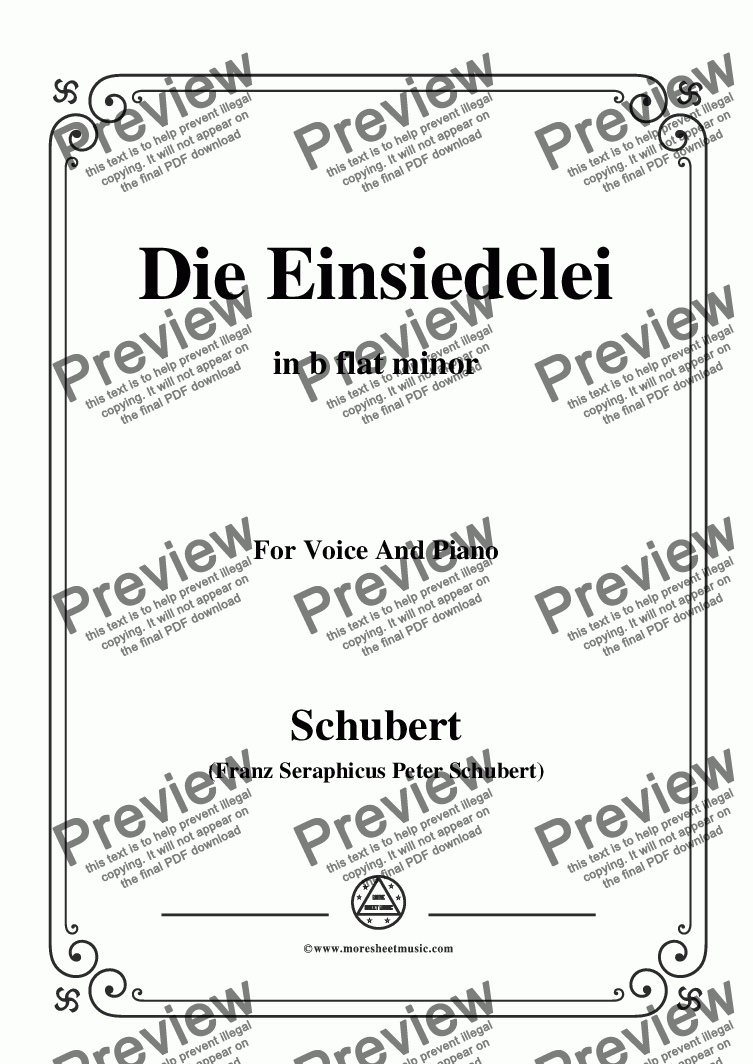 page one of Schubert-Die Einsiedelei(The Hermitage),in b flat minor,D.563,for Voice&Piano