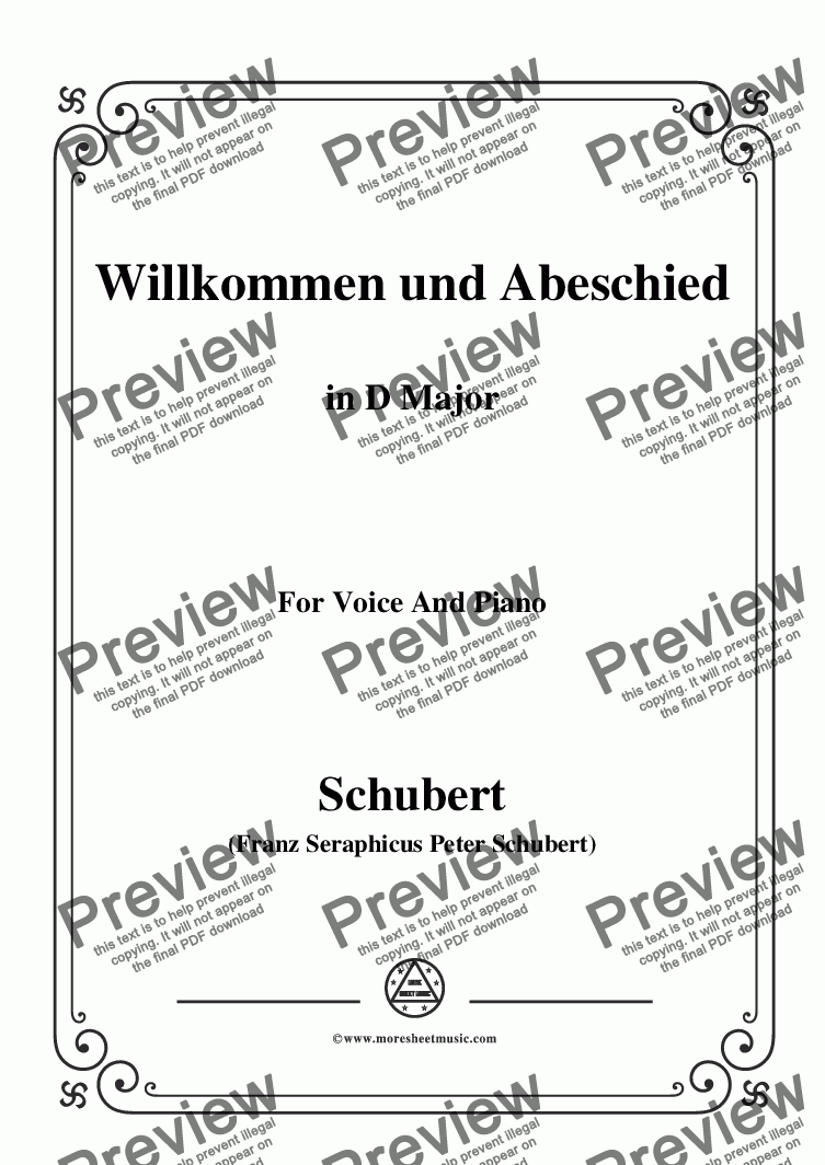page one of Schubert-Willkommen und Abeschied,in D Major,Op.56 No.1,for Voice&Piano