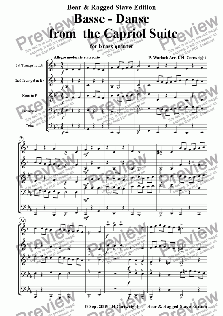 page one of Basse - danse from Capriol Suite for brass quintet