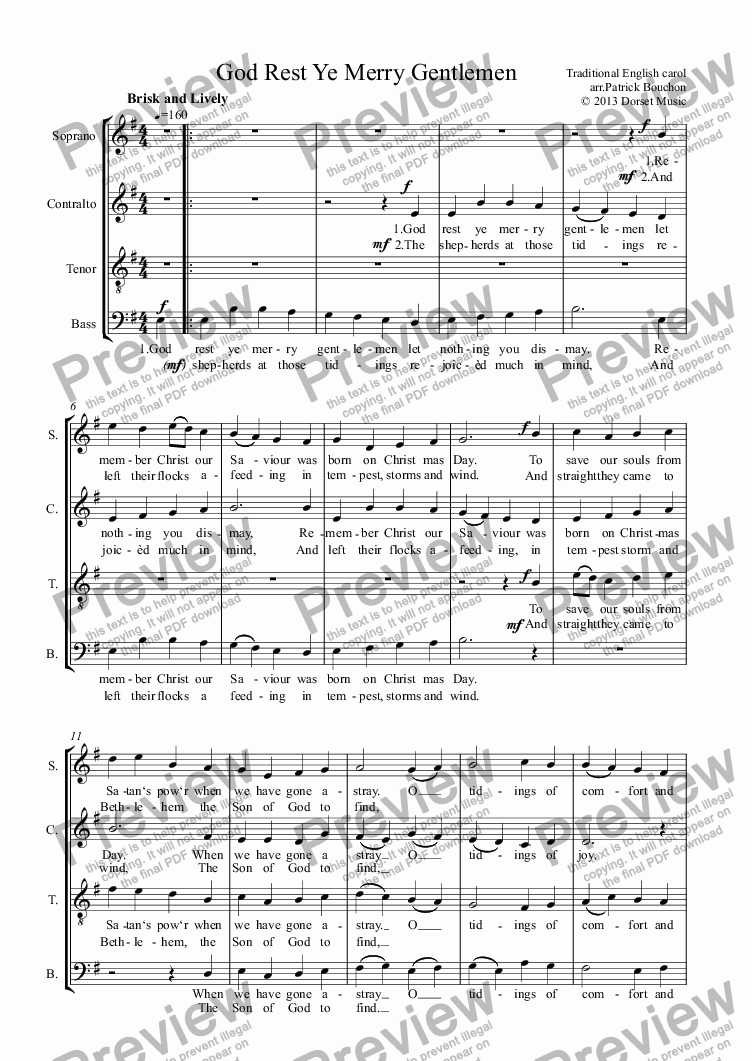 page one of God Rest Ye Merry Gentlemen (SATB)