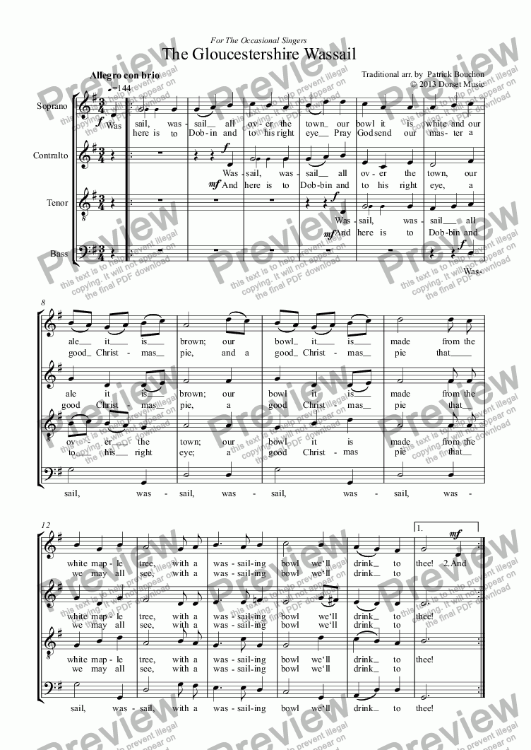 page one of Gloucestershire Wassail (SATB)