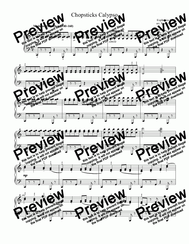 Chopsticks Calypso Style (Intermediate Piano) for Solo instrument (Piano)  by Euphemia Allen - Sheet Music PDF file to download