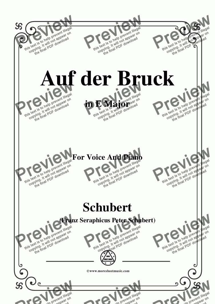 page one of Schubert-Auf der Bruck,Op.93 No.2,in E Major,for Voice&Piano