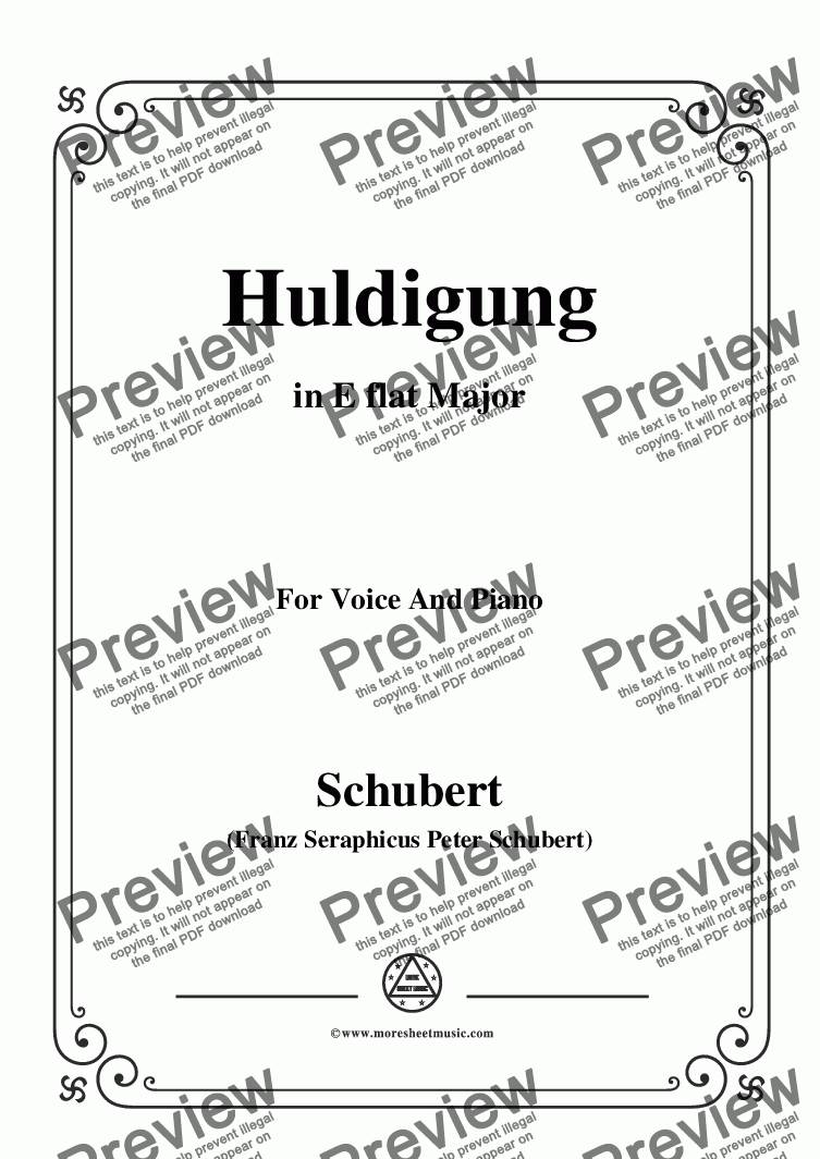 page one of Schubert-Huldigung,in E flat Major,for Voice&Piano