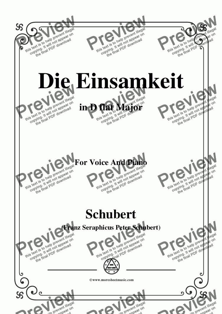 page one of Schubert-Die Einsamkeit,in D flat Major,for Voice&Piano