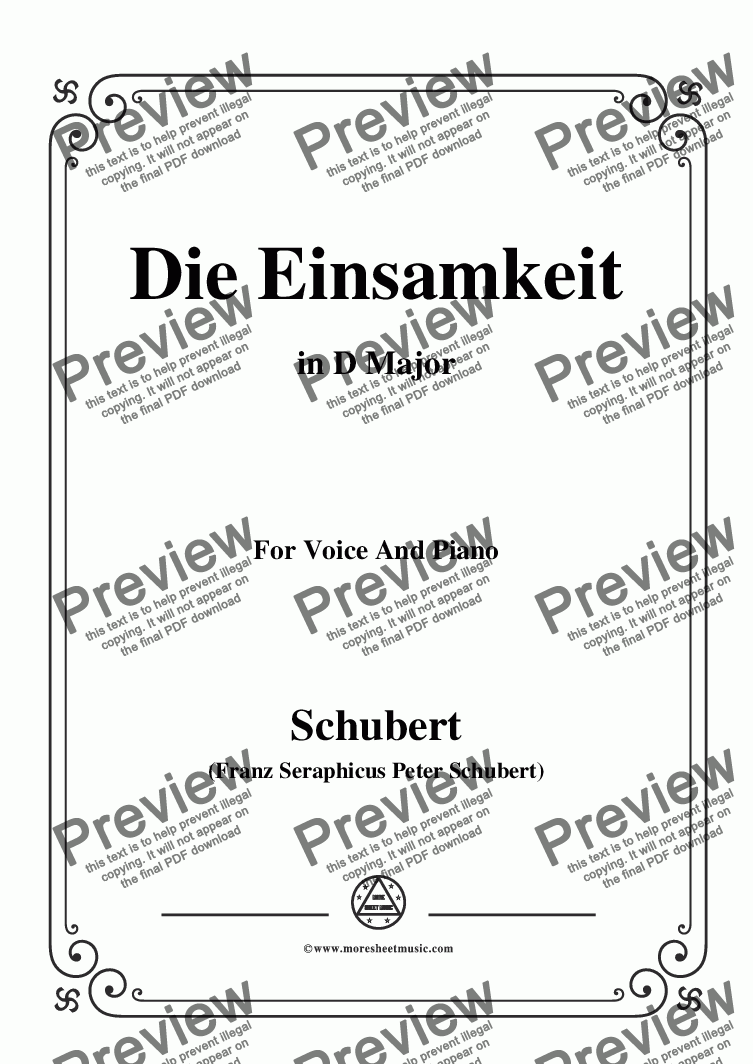 page one of Schubert-Die Einsamkeit,in D Major,for Voice&Piano