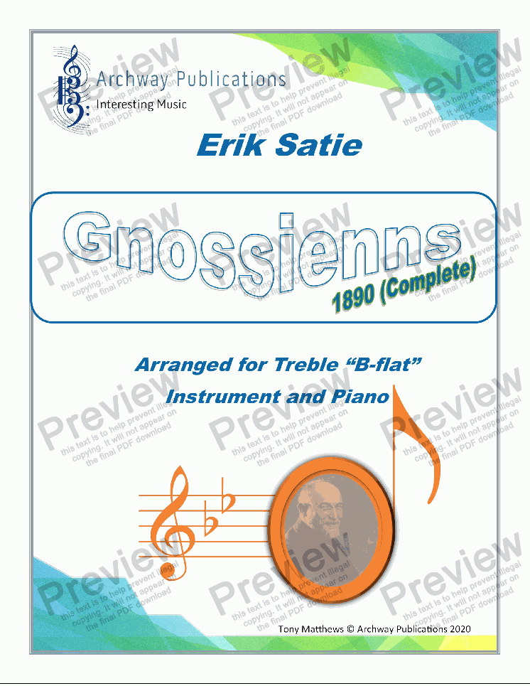 page one of Gnossienne 1890 (Complete). Erik Satie (arr B-Flat Instrument and Piano)