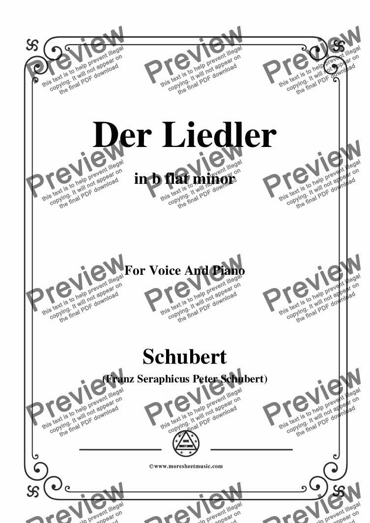 page one of Schubert-Der Liedler,Op.38(D.209),in b flat minor,for Voice&Piano