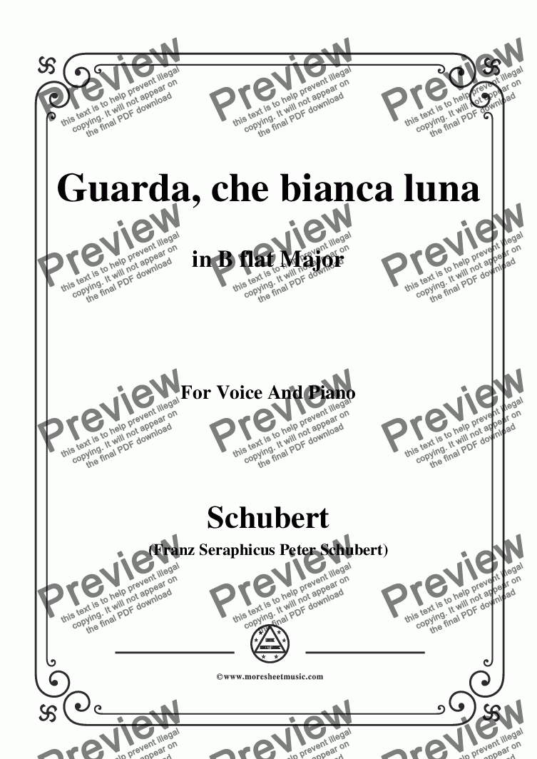 page one of Schubert-Guarda,che bianca luna,in B flat Major,for Voice&Piano