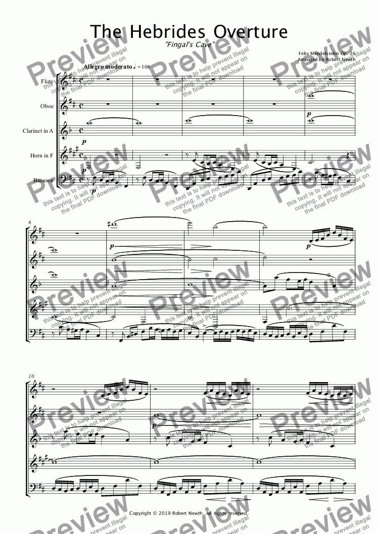 page one of The Hebrides Overture