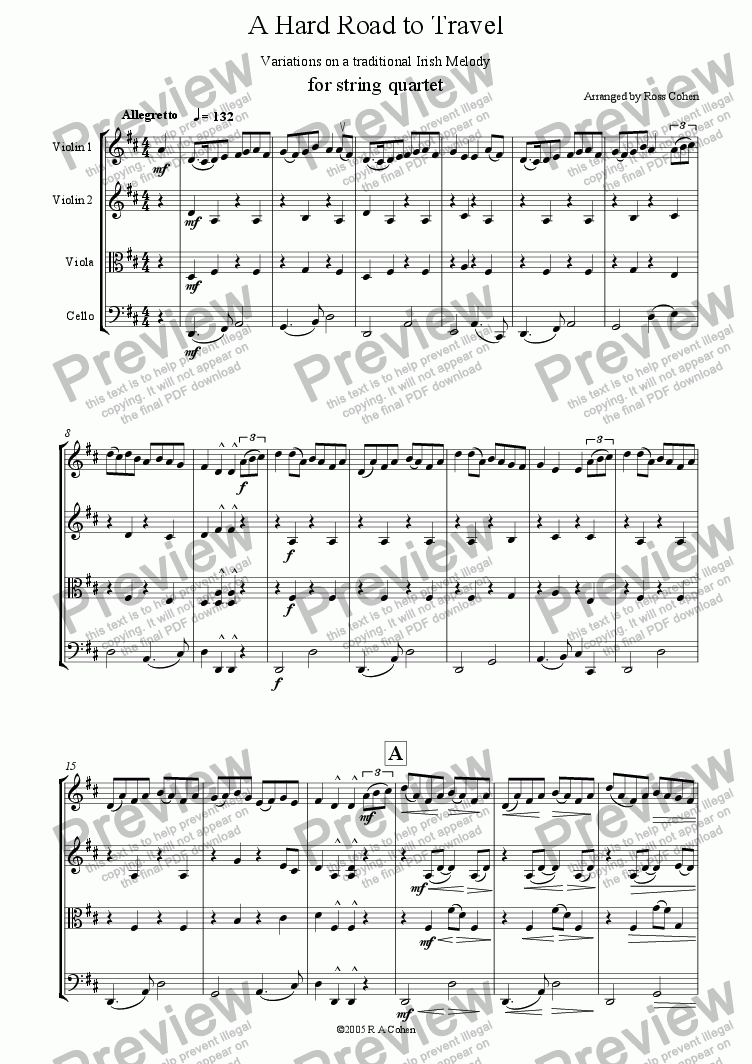 page one of Irish variations - A HARD ROAD TO TRAVEL - for string quartet