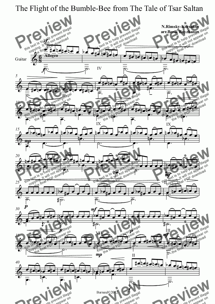 The Flight of the Bumble-Bee for Solo instrument (Classical Guitar  [notation]) by N Rimsky-Korsakov - Sheet Music PDF file to download